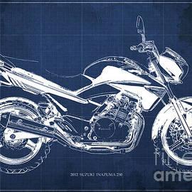 SUZUKI INAZUMA 250 2012 Blueprint, Christmas gift for bikers, Blue background