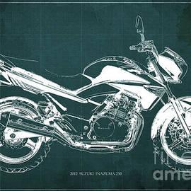 SUZUKI INAZUMA 250 2012 Blueprint Gift for bikers Green background