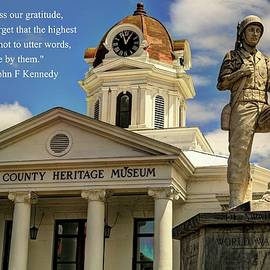 Carol R Montoya - Swain County Heritage Museum Bryson City War Memorial With Quote