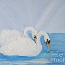 Swans On Open Water by Karen Jane Jones