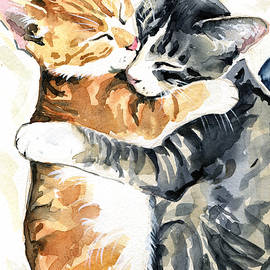 Sweet Dreams - Cat Painting by Dora Hathazi Mendes