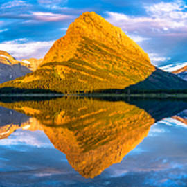 Dustin  LeFevre - Swiftcurrent Lake Sunrise Panorama
