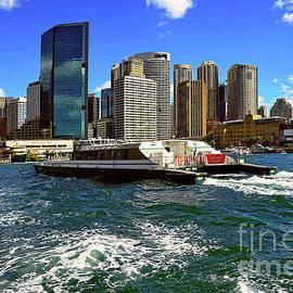 Sydney Skyline from Harbor by Kaye Menner