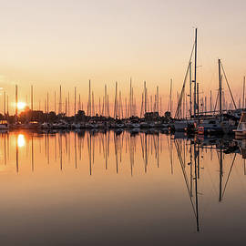 Symmetrical Peace - Catching the Sunrise at a Local Yacht Club by Georgia Mizuleva