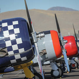 T6 Flight Line At Reno Air Races by John King