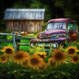 Debra and Dave Vanderlaan - Take us for a Ride in the Sunflower Patch Watercolors Painting