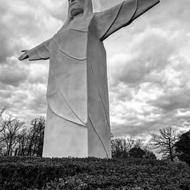 Gregory Ballos - Tall Jesus Christ Statue - Eureka Springs Arkansas - Black and White Edition