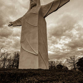 Gregory Ballos - Tall Jesus Christ Statue - Eureka Springs Arkansas - Sepia Edition