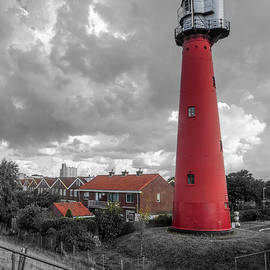 Tall Red Lighthouse in Holland in Black and White by Debra and Dave Vanderlaan