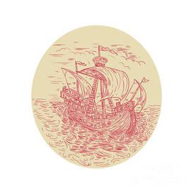 Aloysius Patrimonio - Tall Ship Sailing Stormy Sea Oval Drawing