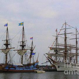 Historic Tall Ships Hermione and Sagres by Dora Sofia Caputo
