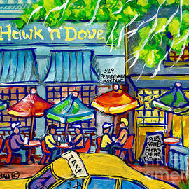 Taxi Cab To The Hawk N Dove Pub Capitol Hill Sidewalk Patio American Watercolor Streetscene Cspandau by Carole Spandau