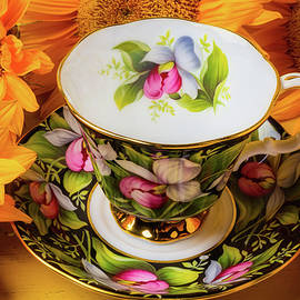Tea Cup And Sunflowers - Garry Gay