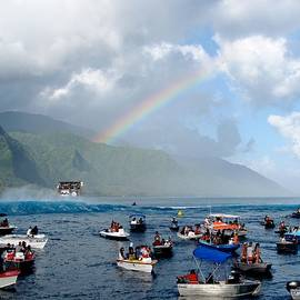 Teahupoo boats and rainbow by Danny Aab