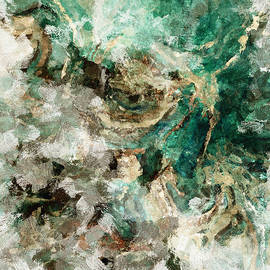 Teal and Cream Abstract Painting - Ayse Deniz