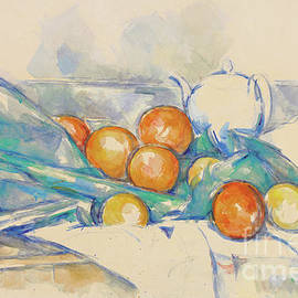 Teapot and Oranges  La Nappe - Paul Cezanne