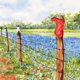 Texas Bluebonnets Boot Fence by Carlin Blahnik CarlinArtWatercolor