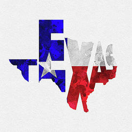 Texas Typographic Map Flag by Inspirowl Design