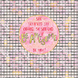 Text Art SHE BELIEVED - grey/rose - Melanie Viola