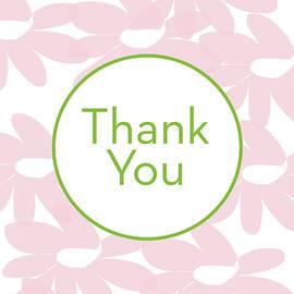Thank You Card Pink Flowers- Art by Linda Woods - Linda Woods