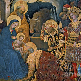 The Adoration of the Magi, detail of Virgin and Child with three kings - Gentile da Fabriano