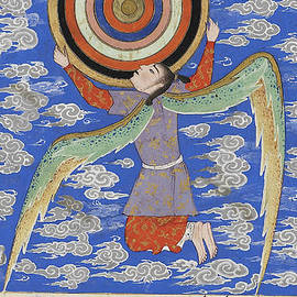 The angel Ruh holding the celestial spheres - Persian School