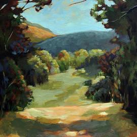 The Backroads - Original oil on canvas summer landscape  by Linda Apple