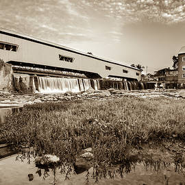 The Bridgeton Mill and Covered Bridge - Indiana - Sepia Tone by Gregory Ballos