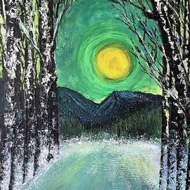 Jean Fassina - The bright yellow moon shines on the deep winter road and forest in pian delle betulle