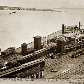 The C. P. Ferry Boat Solano discharging at the Port Casta Slip 1879 by California Views Archives Mr Pat Hathaway Archives