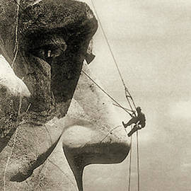 The Construction Of The Mount Rushmore National Memorial, Detail Of Abraham Lincoln,1928  by American School
