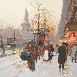 Eugene Galien-Laloue - The corner of the Republic Square, snow effect
