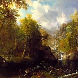 The Emerald Pool - After The Style Manner And Painting Of Albert Bierstadt L A S by Gert J Rheeders