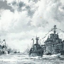 The Fleet at Spithead - Montague Dawson