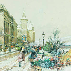 Eugene Galien-Laloue - The flower market along the quai of the Seine