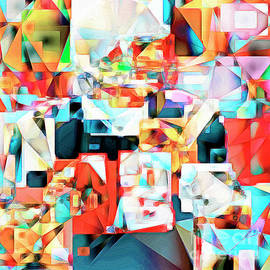 Wingsdomain Art and Photography - The Football Quarterback in Abstract Cubism 20170328c2 square