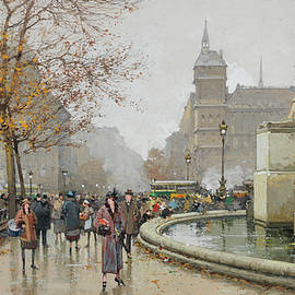 Eugene Galien-Laloue - The fountain of Palm, Place du Chatelet