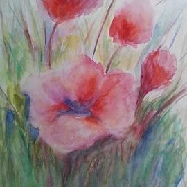 The gentle red flowers by Olga Malamud-Pavlovich