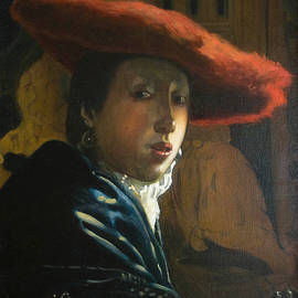 Dominique Amendola - The Girl With The Red Hat by D.Amendola after Vermeer