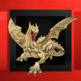 Serge Averbukh - The Great Dragon Spirits - Golden Guardian Dragon on Red and Black Canvas