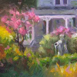The Guardian - Plein Air Lilac Garden by Talya Johnson