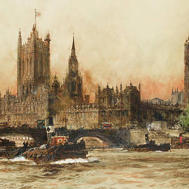 The Houses of Parliament from the Thames - Charles Edward Dixon