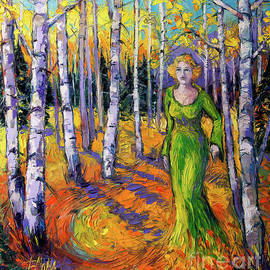 THE LADY OF THE ASPEN TREES modern impressionism palette knife painting - Mona Edulesco