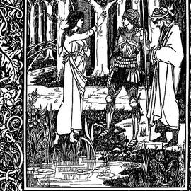 The Lady of the Lake telleth Arthur of the sword Excalibur - Aubrey Beardsley
