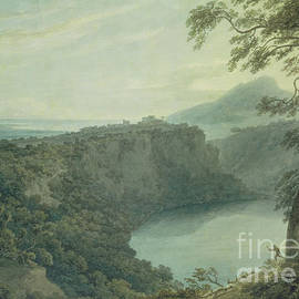 The Lake of Nemi and the town of Genzano - John Robert Cozens
