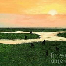 Olga Zavgorodnya - Landscape with Grazing Antelopes