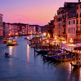 The blue hour from the Rialto Bridge in Venice, Italy by Fine Art Photography Prints By Eduardo Accorinti