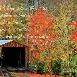 Reid Callaway - The Law Of The Harvest Elder Mill Covered Bridge Scripture Art