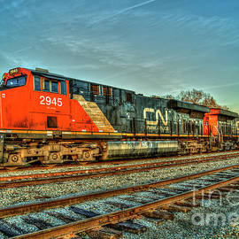 Reid Callaway - The Line Up Canadian National Norfolk Southern Locomotives Art