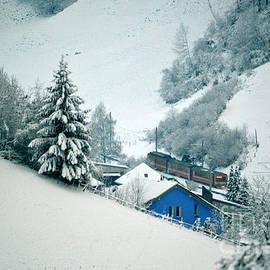 The Little Red Train - Winter In Switzerland  by Susanne Van Hulst